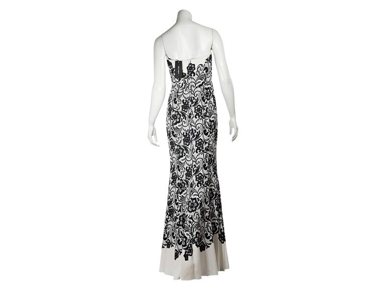 White & Black Dolce & Gabbana Floral Lace Gown 3