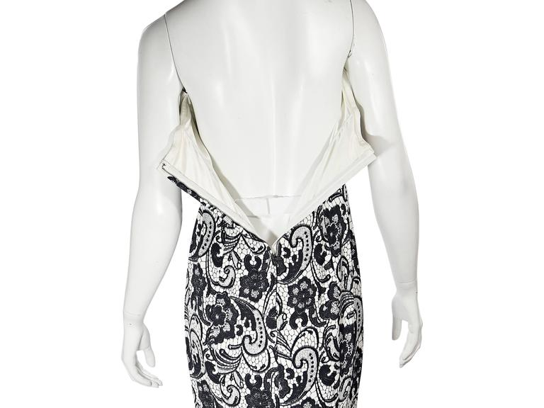 White & Black Dolce & Gabbana Floral Lace Gown 6