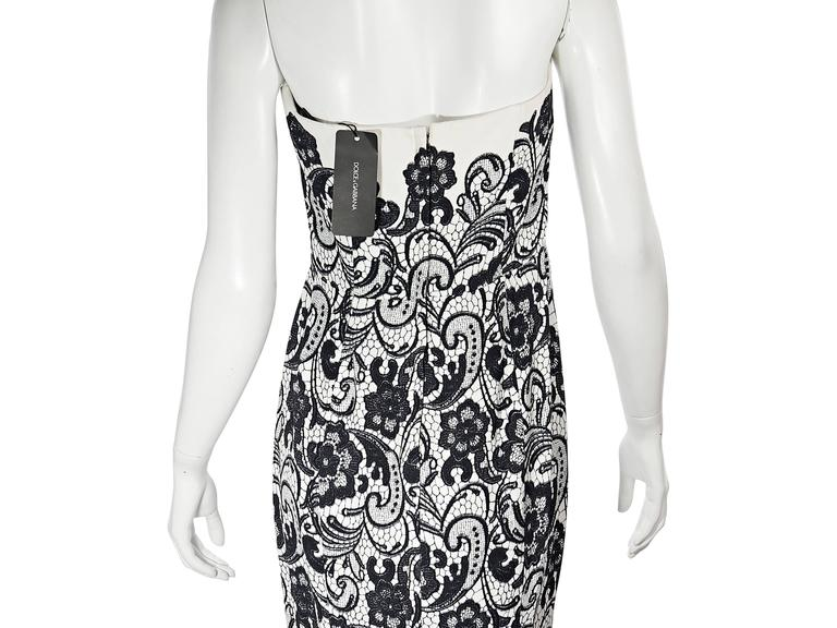 White & Black Dolce & Gabbana Floral Lace Gown 4