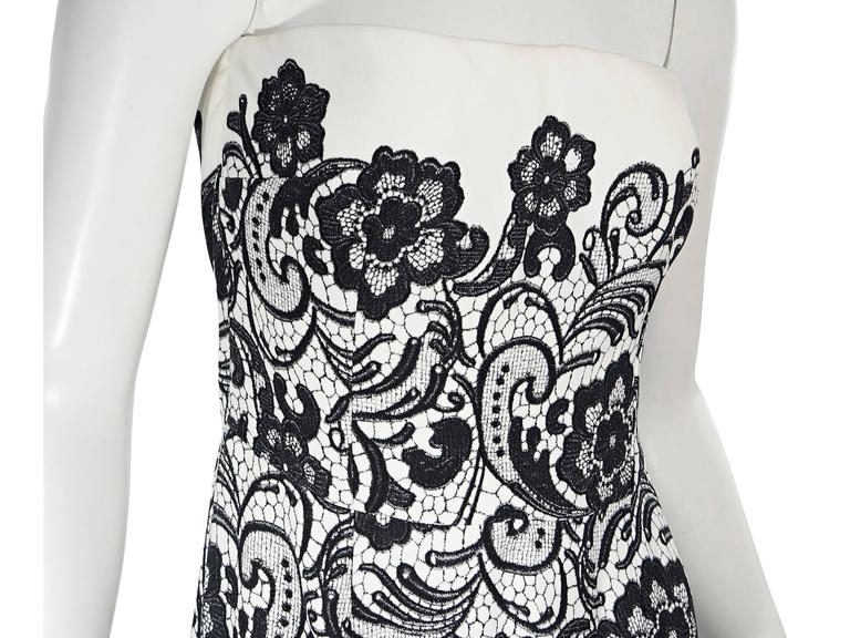 White & Black Dolce & Gabbana Floral Lace Gown 5
