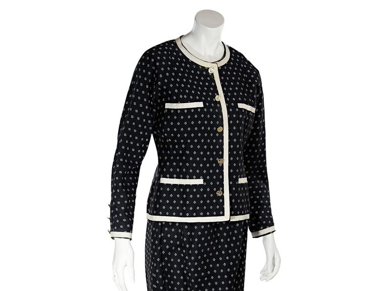 Navy & White Vintage Chanel Skirt Suit 4