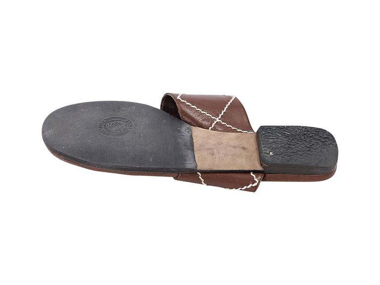 Brown Chanel Leather Flat Sandals 3