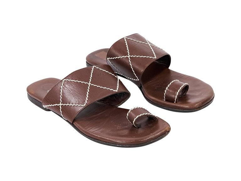 Brown Chanel Leather Flat Sandals 2