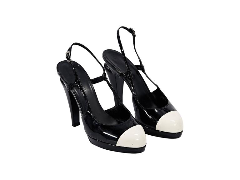 Black & White Chanel Slingback Platform Pumps 2