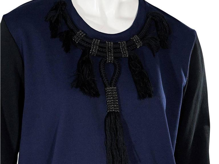 Navy Blue & Black Lanvin Embellished Sweatshirt In Excellent Condition For Sale In New York, NY