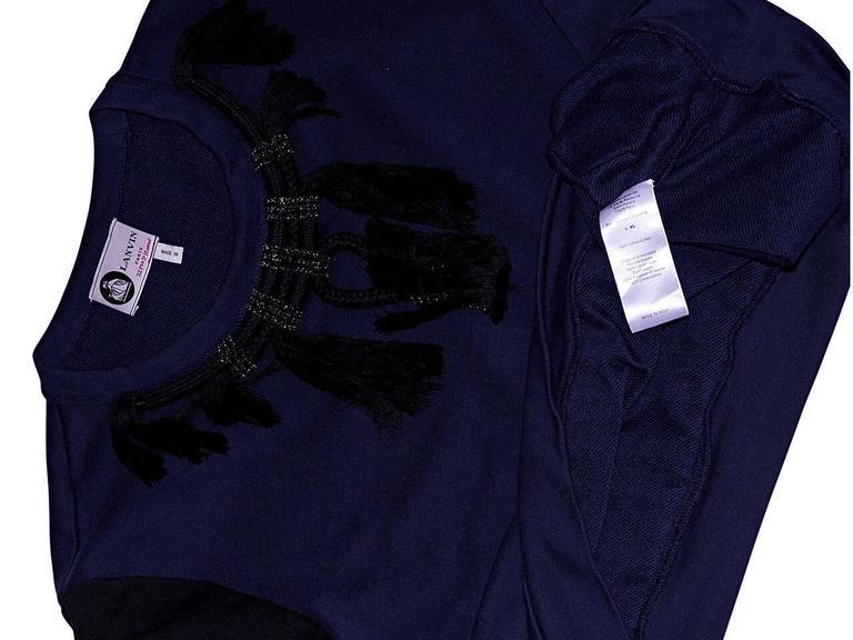 Women's or Men's Navy Blue & Black Lanvin Embellished Sweatshirt For Sale