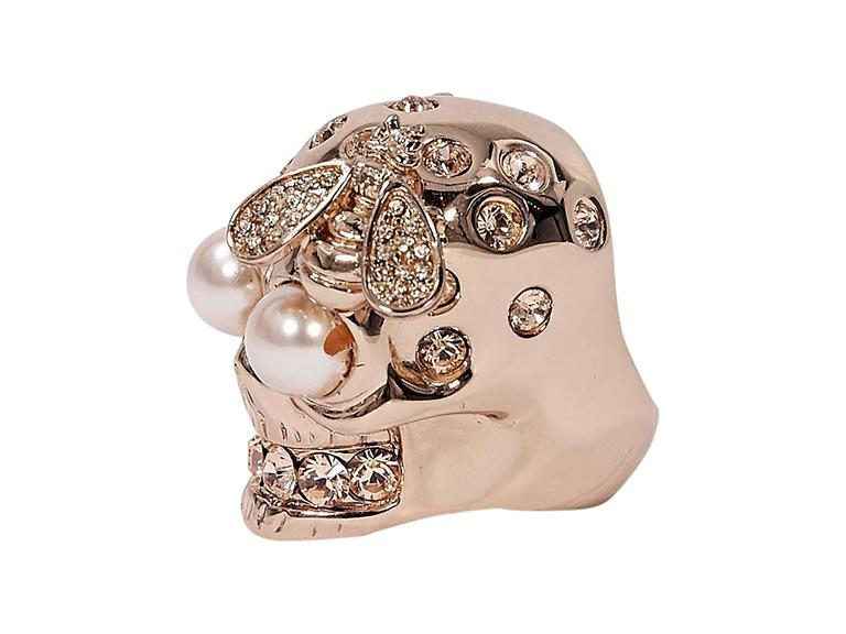 Rose Gold Alexander McQueen Skull and Bee Ring at 1stdibs