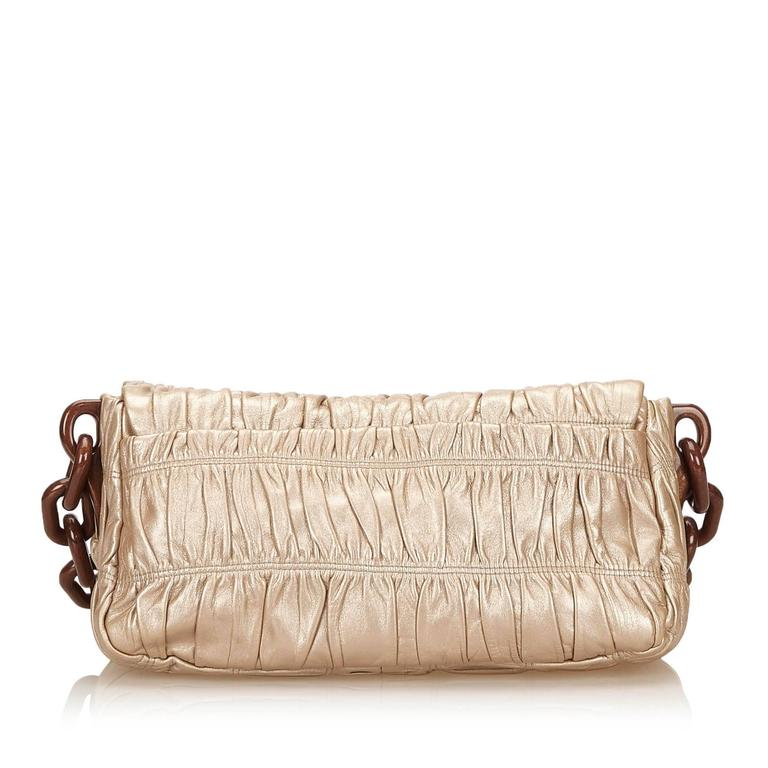 Beige Bronze Prada Nappa Gaufre Shoulder Bag For Sale