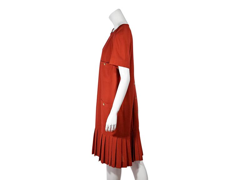 Red Vintage Chanel Pleated Short-Sleeve Dress 2