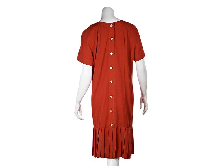 Red Vintage Chanel Pleated Short-Sleeve Dress 3