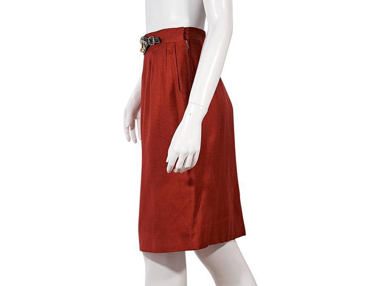 Red Vintage Hermès Belted Skirt 2