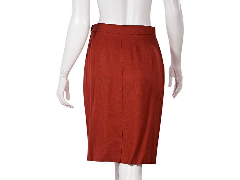 Red Vintage Hermès Belted Skirt 3
