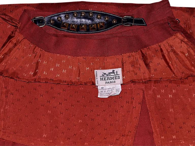 Red Vintage Hermès Belted Skirt 4