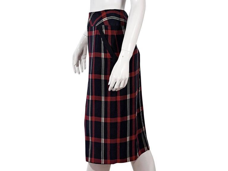 Black Multicolor Vintage Chanel Plaid Pencil Skirt For Sale