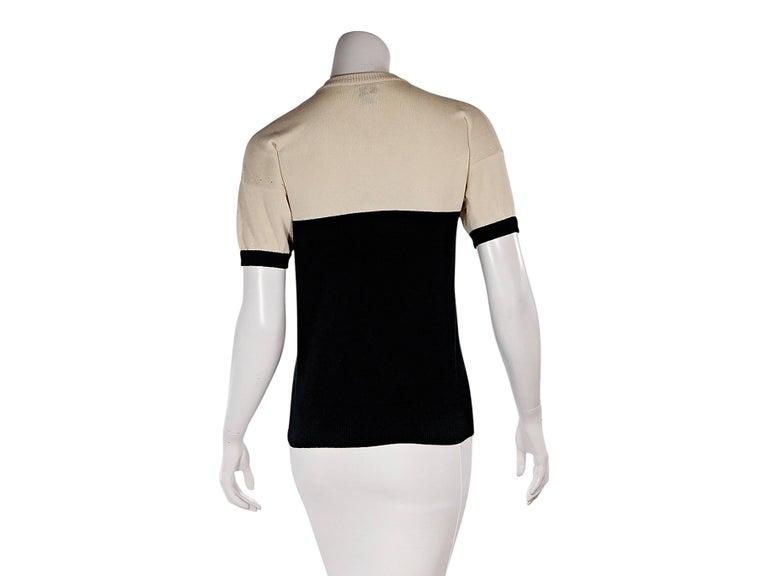 Beige Tan & Black Vintage Chanel Short-Sleeve Knit Top For Sale