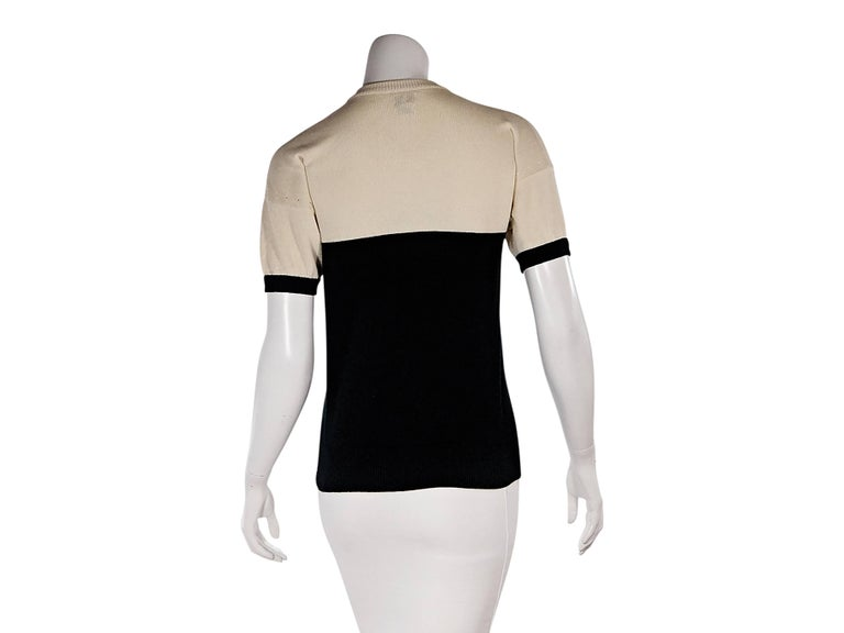 Tan & Black Vintage Chanel Short-Sleeve Knit Top 3