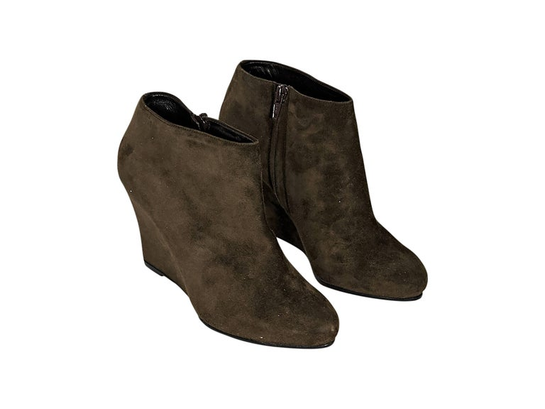 Brown Christian Louboutin Suede Wedge Ankle Boots 2