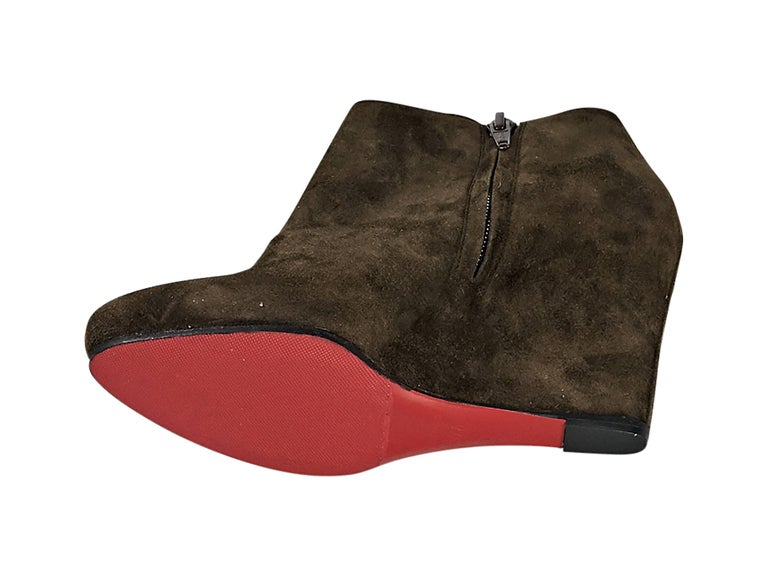 Brown Christian Louboutin Suede Wedge Ankle Boots 3