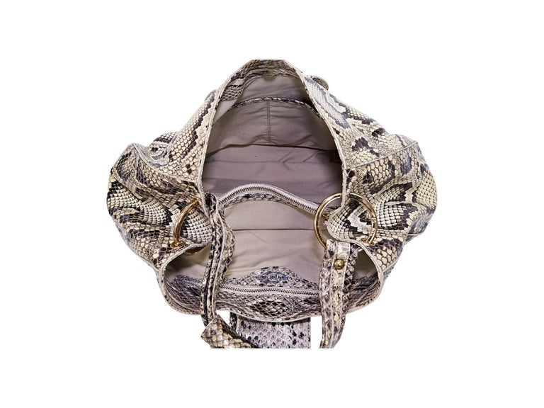 Beige Tod's Python Hobo Bag In Good Condition For Sale In New York, NY