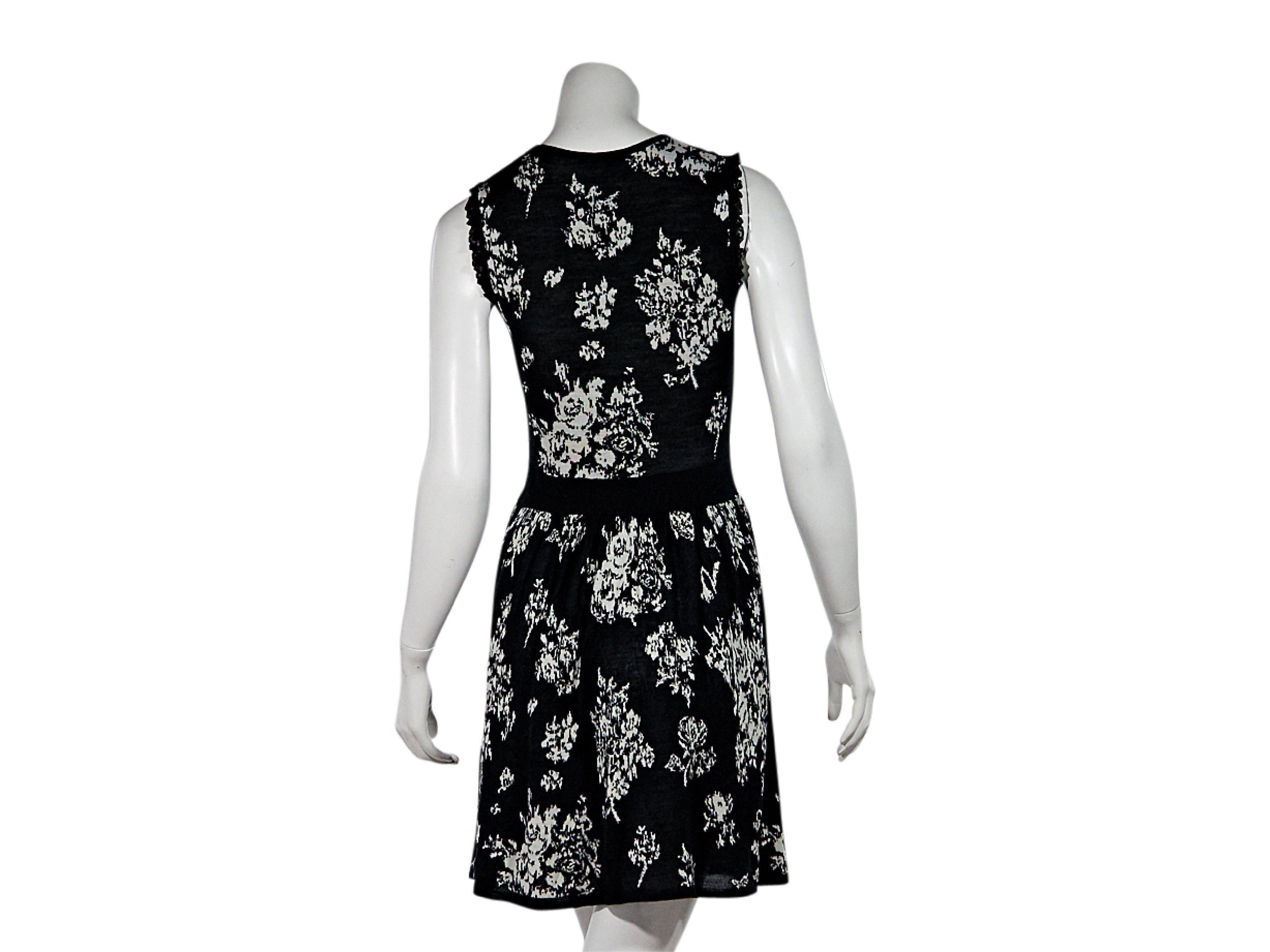 2082162025f Black and White Red Valentino Floral Dress For Sale at 1stdibs