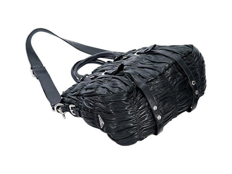 Black Prada Nappa Leather Gaufre Satchel 4