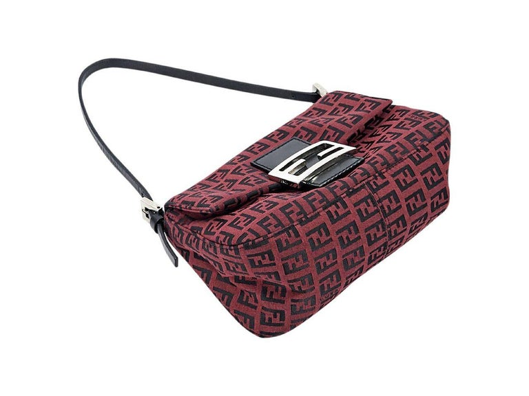 Burgundy Fendi Zucchino Baguette Bag In Excellent Condition In New York, NY