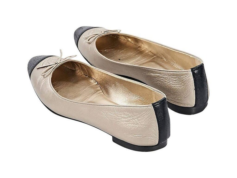 Beige Gold & Black Chanel Leather Ballet Flats For Sale