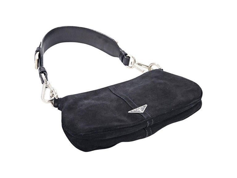 0df9a6d2541e Black Prada Suede Small Shoulder Bag In Good Condition For Sale In New  York, NY