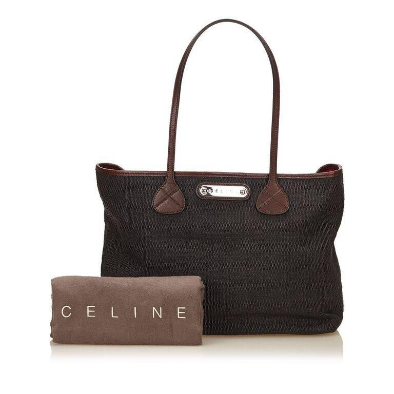 Black Céline Fiber Tote Bag In Excellent Condition For Sale In New York, NY
