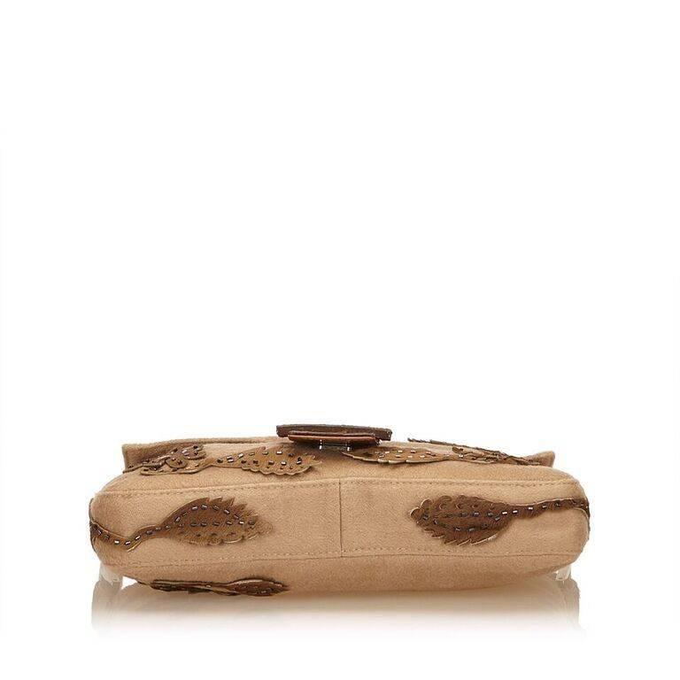 Tan Fendi Wool Embellished Baguette Shoulder Bag In Good Condition In New York, NY