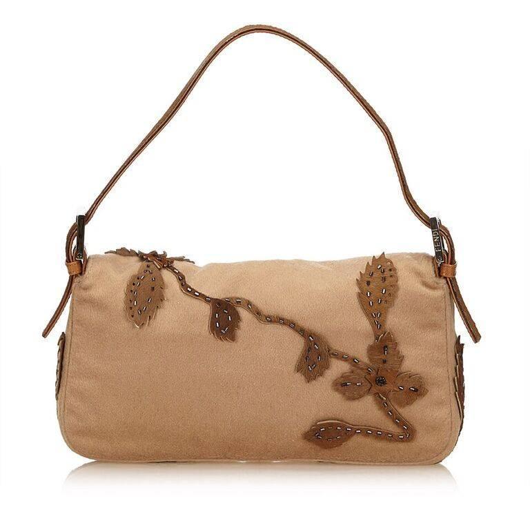 Brown Tan Fendi Wool Embellished Baguette Shoulder Bag