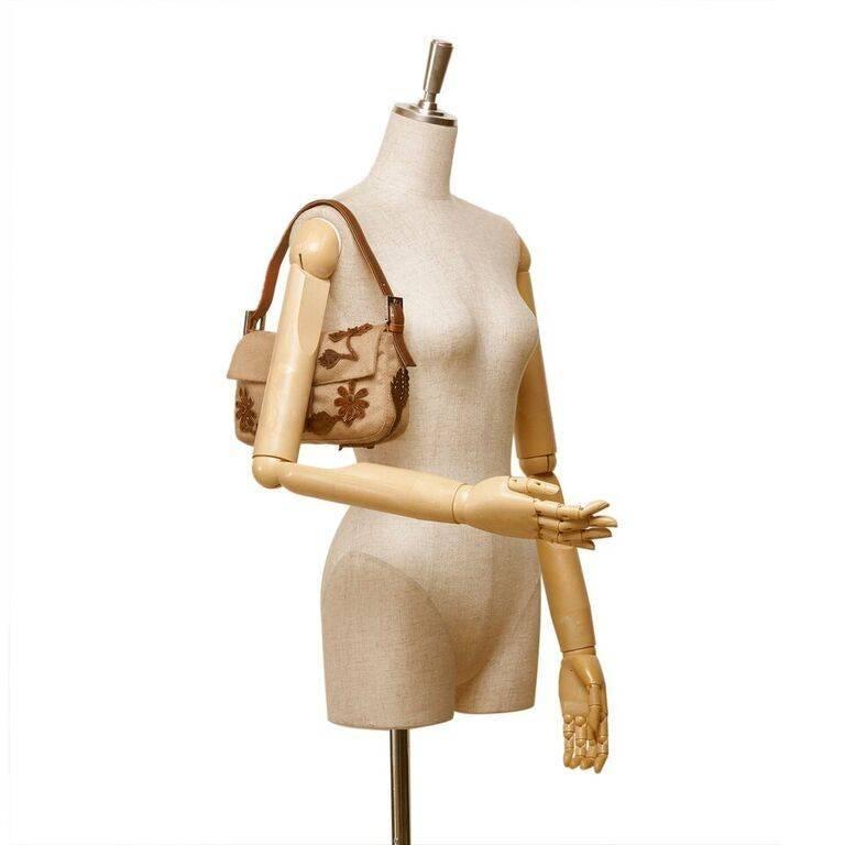 Tan Fendi Wool Embellished Baguette Shoulder Bag 2