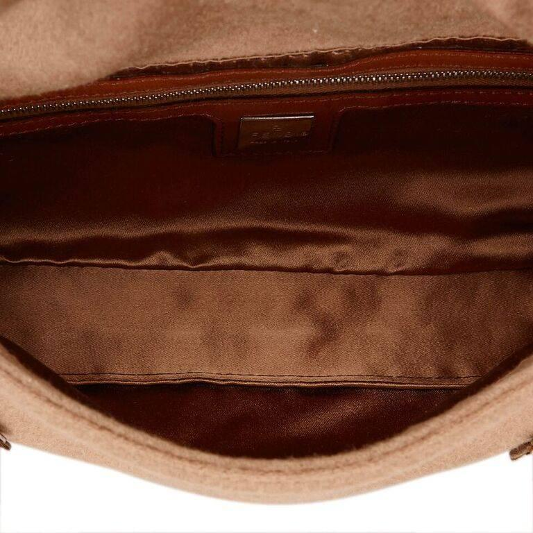 Women's Tan Fendi Wool Embellished Baguette Shoulder Bag