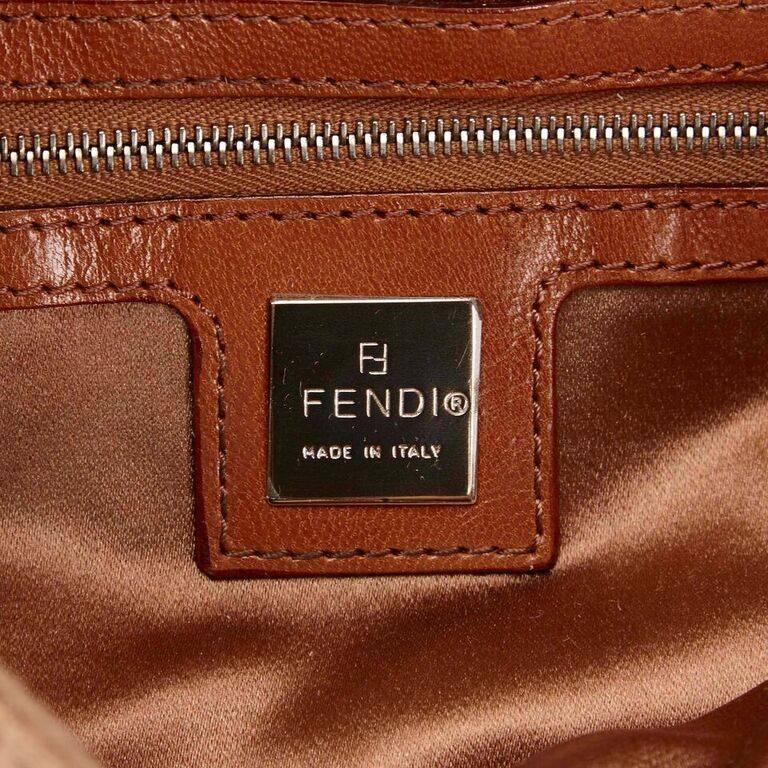 Tan Fendi Wool Embellished Baguette Shoulder Bag 1