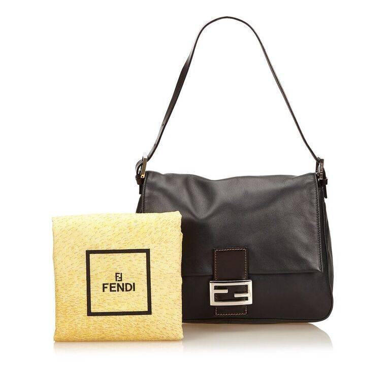 Black Fendi Leather Baguette Shoulder Bag 4