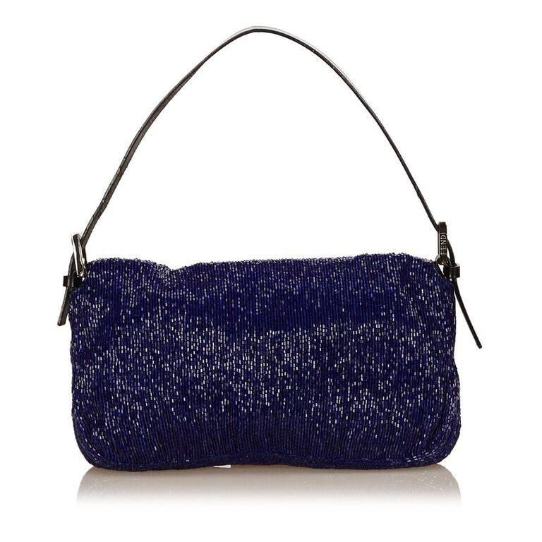 Blue Fendi Beaded Baguette Bag In Good Condition In New York, NY