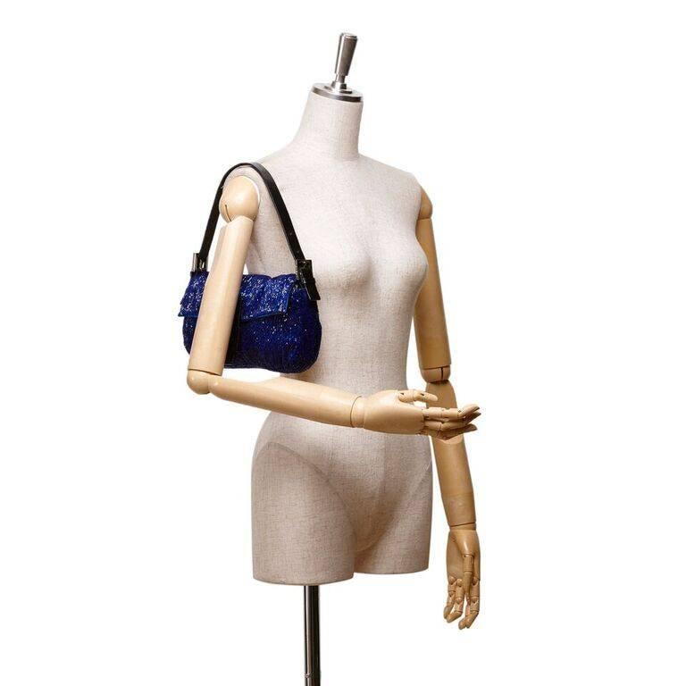Blue Fendi Beaded Baguette Bag 3