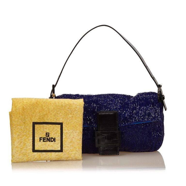 Blue Fendi Beaded Baguette Bag 4