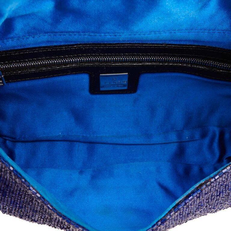 Blue Fendi Beaded Baguette Bag 1