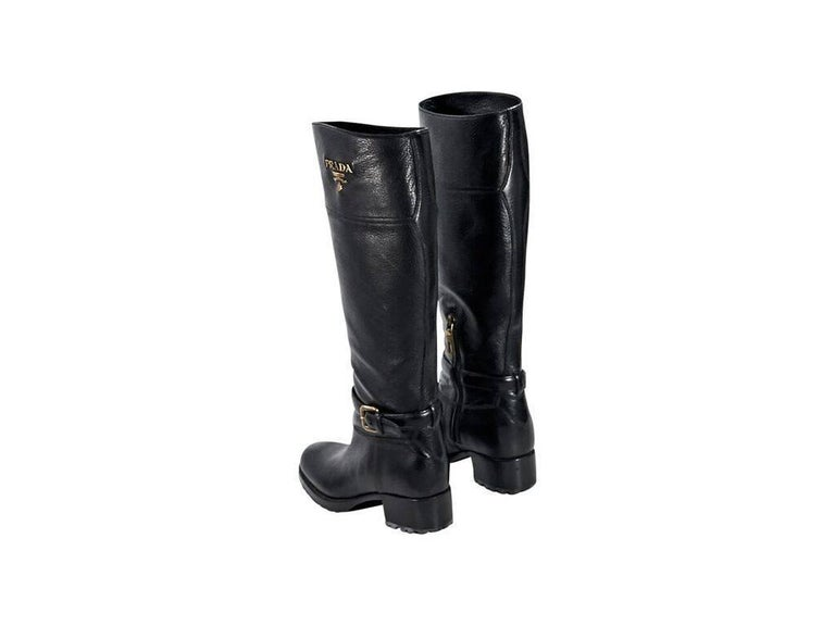 Black Prada Leather Cervo Riding Boots In Excellent Condition For Sale In New York, NY