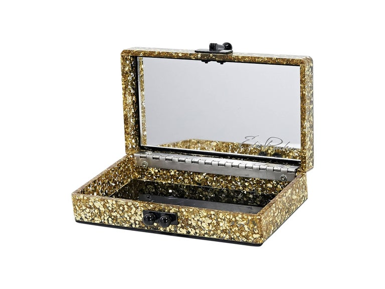 Black & Gold Edie Parker Glitter Box Clutch In Excellent Condition For Sale In New York, NY