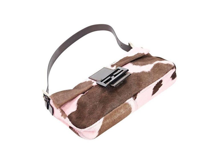 Brown & Pink Fendi Printed Ponyhair Baguette Bag In Excellent Condition In New York, NY