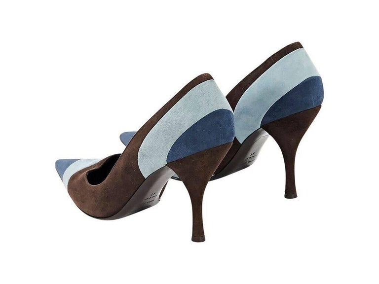 Black Brown & Blue Sergio Rossi Suede Pumps For Sale