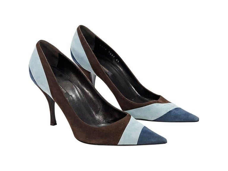 Product details:  Brown and blue suede pumps by Sergio Rossi.  Point toe.  Slip-on style.  Condition: Pre-owned. Very good. Est. Retail $ 498.00