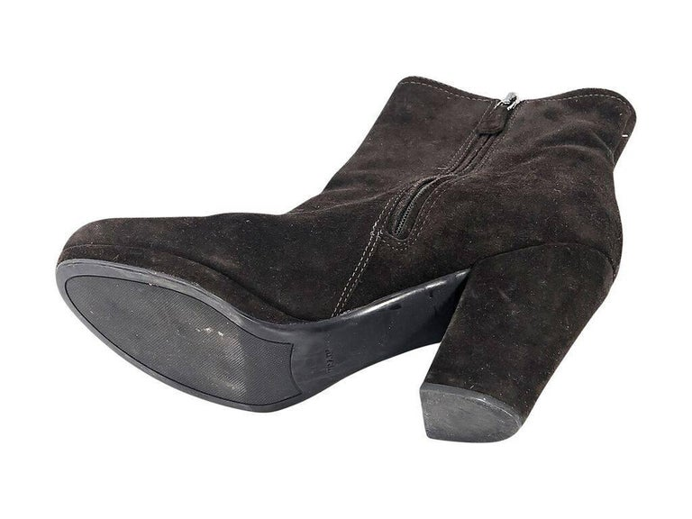 Black Prada Sport Suede Ankle Boots In Excellent Condition For Sale In New York, NY