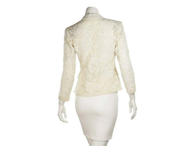 White Vintage Yves Saint Laurent Lace Blazer In Excellent Condition For Sale In New York, NY