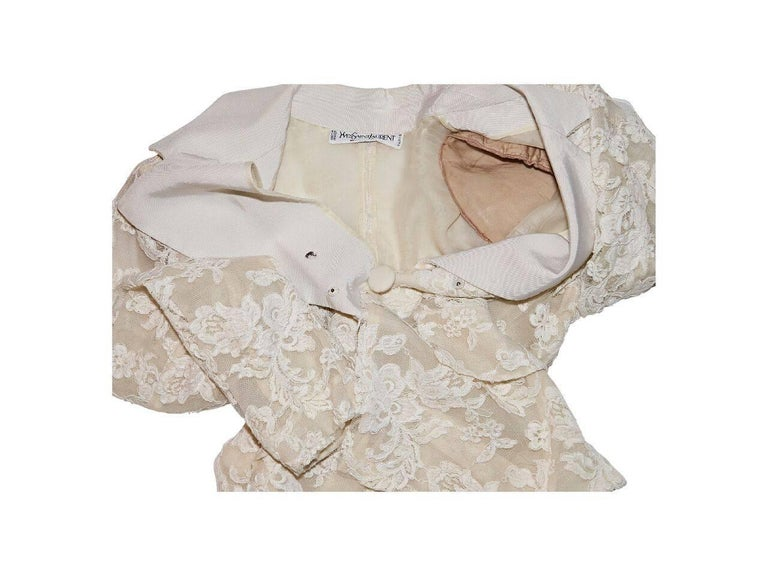 White Vintage Yves Saint Laurent Lace Blazer 4