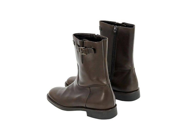 Black Brown Chanel Leather Mid-Calf Boots For Sale