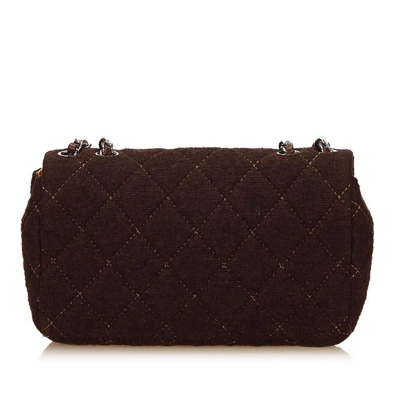 Brown Chanel Matelasse Quilted Wool Flap Bag 3