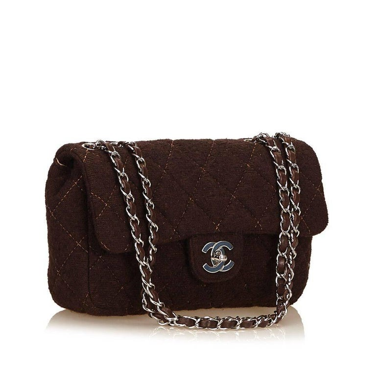Brown Chanel Matelasse Quilted Wool Flap Bag 2